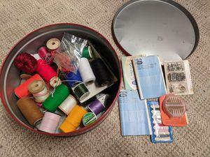Old sewing supplies, sewing tin, various craft supplies, craft supplies, sewing supplies for Sale in Brunswick, OH
