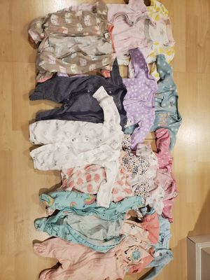 Newborn Girls Footed PJ's-*Gently used* for Sale in Everett, WA