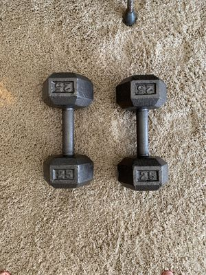 Dumbbells - pair of 25 lb for Sale in Lincoln, NE