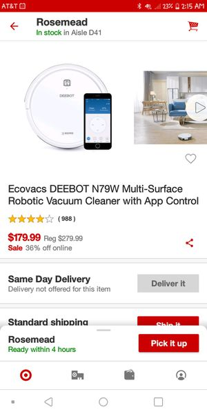 DEEBOT N79W The Multi-Surface Robotic Vacuum Cleaner - White for Sale in Pasadena, CA
