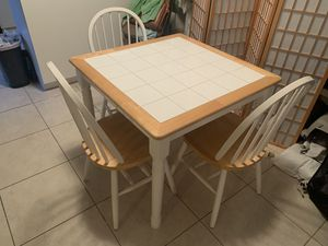 Wooden farmhouse kitchen table with 3 chairs for Sale in Delray Beach, FL