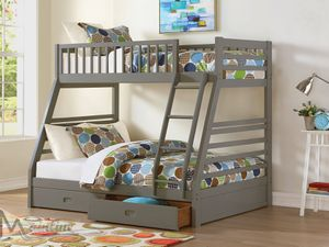 New! Gray Twin/Full Storage Bunkbed + FREE DELIVERY! for Sale in Silver Spring, MD