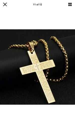 Stainless steel Bible Cross with chain Necklaces for Sale in Walker, LA