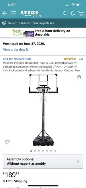 Adjustable portable basketball hoop- like new - $50 off for Sale in San Diego, CA