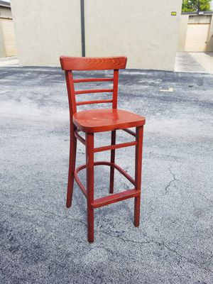 "Red Solid Wood Bar Height Chair that's in good condition! Dimensions: Back 42""H Seat 30""H x 15""W x 18""D for Sale in Delray Beach, FL"