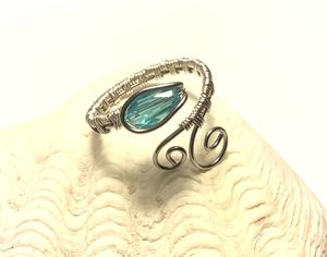 Silver Wire Weave Snake Ring with Blue Crystal Teardrop for Sale in Wolcott, CT