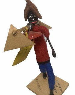 Brazil Souvenir Black Folk Art String Doll w/ Tin Pots Felt hat 1979 Vintage Art for Sale in Beaverton,  OR