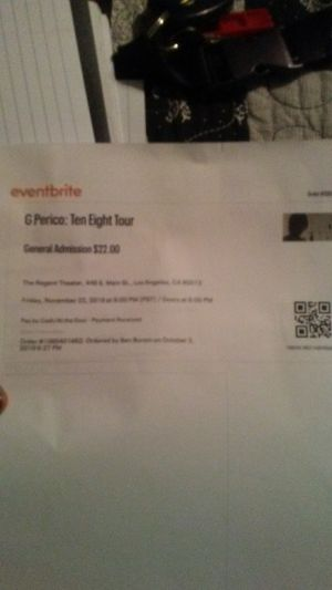 G Perico concert tickets for Sale in Fountain Valley, CA