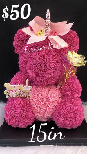 🌷🐻💖. Beautiful Rose Bears /Unicorn 🦄 15in Tall. Same Day Pick Up Is Available. Roses Are Made Out Of Foam. for Sale in Lynwood, CA