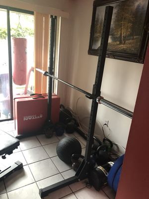 Rogue ES-1 squat stand, TDS safety stands, Xmark Lumberjack barbell for Sale in Hialeah, FL