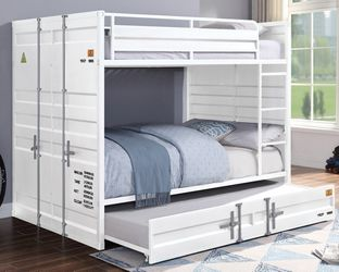 INDUSTRIAL CARGO CONTAINER WHITE FINISH FULL OVER FULL SIZE BUNK BED TRUNDLE - CAMA LITERA MATRIMONIAL for Sale in Downey,  CA