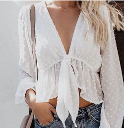 White Sheer Long Sleeve Top Size Medium for Sale in West Valley City,  UT