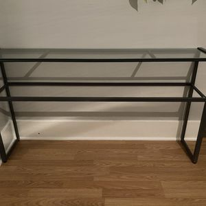 Dark Gray Metal Console With Glass Top for Sale in Portland, OR