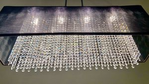 """Crystal/ real glass strands Large Black Chandelier Pendant. 33"""" Long, 9""""wide, 37"""" from the ceiling. for Sale in Grapevine, TX"""