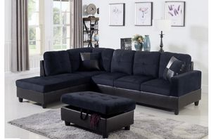 3 PC Sectional Sofa Set, Left Facing Chaise with Storage Ottoman- Midnight Blue Color for Sale in NV, US