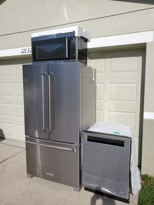 Stainless steel.. fridge dishwasher and microwave.. kitchenaid for Sale in Lithia, FL