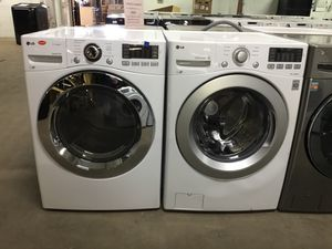 (Anoka 16653-AB AS) LG White Front Load Washer and Electric Dryer for Sale in Anoka, MN