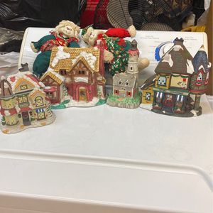 Antique Christmas houses and bunnies. All for 32 for Sale in Riverside, CA