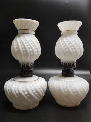 Antique/Vintage P & A Mfg Co & Dietz Convex White Milk Glass Optic Swirl& Button for Sale in Mesa, AZ