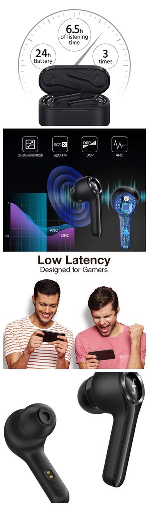 Funcl AI Bluetooth TWS Headphones Waterproof Earphones with 3D Stereo AptX CVC 8.0 for Sale in Davie, FL
