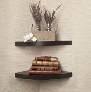Walnut laminate corner radial shelves set of 2 for Sale in St. Louis, MO