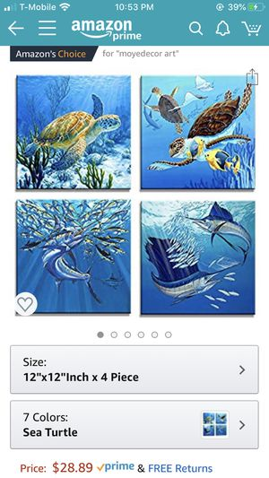 """4 Pieces Wall Art Paintings Turtle & Tuna In The Blue Underwater World Of Art Pictures Prints On Canvas Home & Office Decor-12""""x12""""in x 4 Panel Ready for Sale in Miami, FL"""