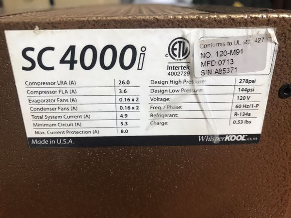 Whisperkool SC4000i Wine Cellar Cooling Unit. New.