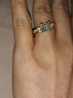 18 K Gold Filled Princess Cut Engagement Ring, Size 8. for Sale in Dallas,  TX