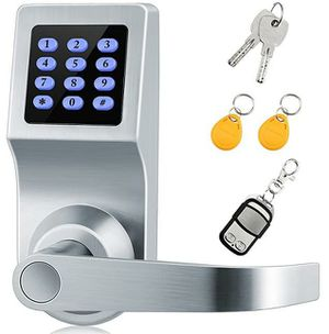 Digital Lock,XINDA Lock with Remote control,Password,Card and Metal key.Door Control Keypads with Adjustable hand,Perfect for Office & Home(Silvery) for Sale in Rancho Cucamonga, CA