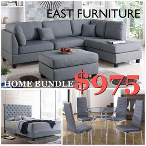 Sectional sofa with ottoman bundle with velvet queen bed and grey table set for Sale in Boca Raton, FL