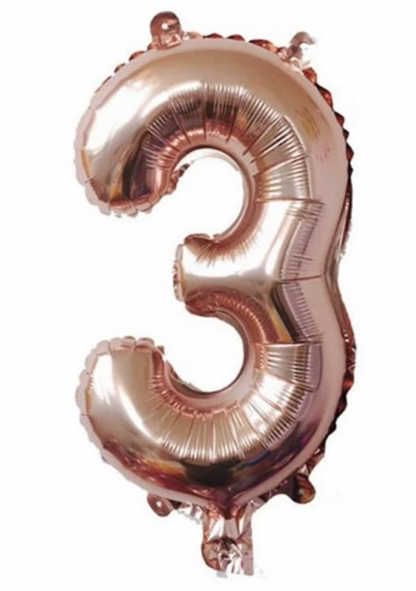 Rose gold balloon #3 number