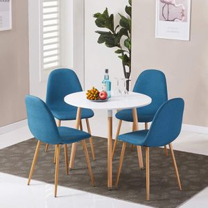 GreenForest set of 4 Blue Dining Room Chairs, and White Round Kitchen Dining Table for Sale in Cleveland, OH