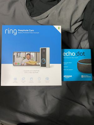 Ring peephole camera battery powered video doorbell brand new bundle with echo dot brand new for Sale in Alhambra, CA