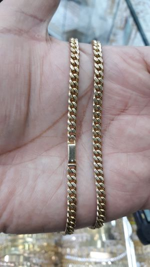 10k gold Cuban link hand made chain 24 inch 4mm 37.5 grams solid for Sale in Los Angeles, CA