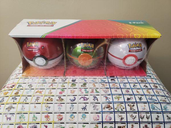 Pokemon TCG Poke Ball Tin 9 Booster Pack 3 Coin 2020