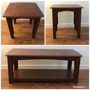 Brown wood coffee table and end table set for Sale in Renton, WA