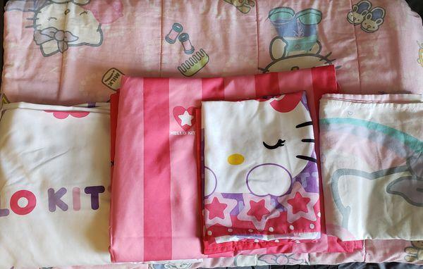 Hello Kitty twin comforter & sheet set