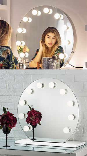 """(NEW) $170 Round 28"""" Vanity Mirror w/ 10 Dimmable LED Light Bulbs, Hollywood Beauty Makeup USB Outlet for Sale in South El Monte, CA"""