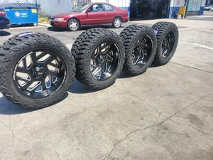 WHEELS 20X10 AND TIRES 33X12.50R20 BRAND NEW $1450 SET OF FOUR BEST PRICE ON TOWN for Sale in Anaheim, CA