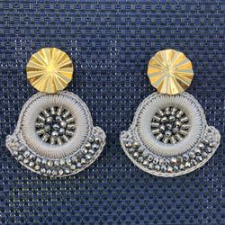 Gray earrings made with beads and golden hook for Sale in Miami,  FL