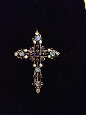925 Sterling Silver amethyst moonstone Pearl tourmaline cross for Sale in Orange, CA