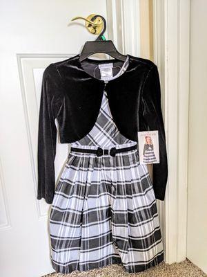 Jona Michelle Toddler Dress with Velvet Vest- Black/White - Size 8T for Sale in Auburn, WA
