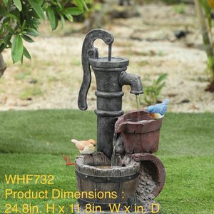 Cement/Resin Barrels and Blue Bird Outdoor Fountain for Sale in Walnut, CA