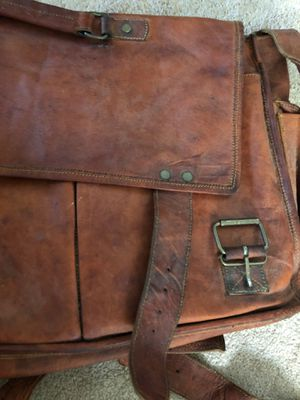 Handmade leather and canvas messenger bag for Sale in Seattle, WA