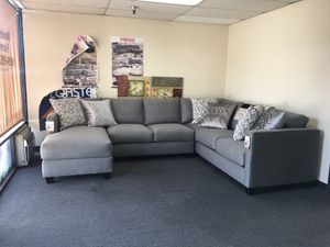 New custom made sectional sofa grey includes 6 accent pillows was $2,200 now $1,400 for Sale in Ontario, CA