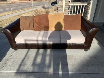 (FREE DELIVERY) Ashley's Furniture Faux Leather and Microfiber Couch for Sale in Littleton,  CO