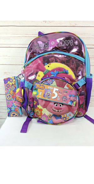 Trolls 5-Pc Girls Backpack Set Lunch Bag Water Bottle Pencil Case Carabiner NEW for Sale in Glendora, CA