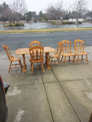 Table, 6 Wood Chairs, and Table Insert for Sale in Clovis, CA