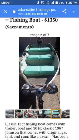 12ft aluminum fishing boat and trailer for Sale in Rio Linda, CA