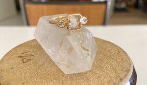 Lauren Wolf diamond ring center grey emerald cut, side stones, size 6 for Sale in Lawton, OK